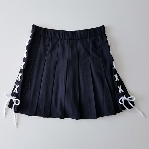 String Along Lace-up Pleated Mini-Skirt in Black