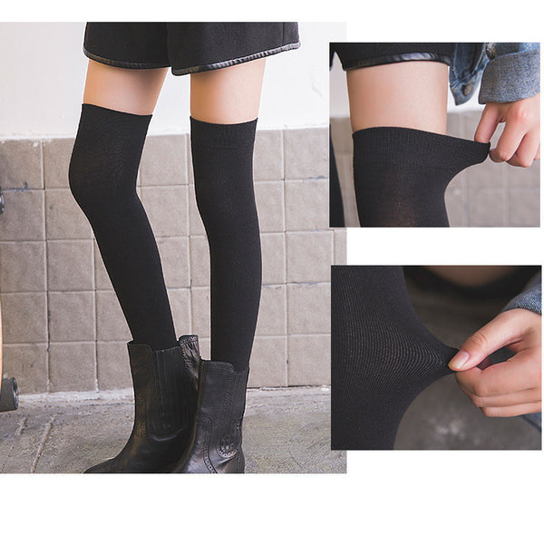 Extra Long Thigh High Socks in Full Black