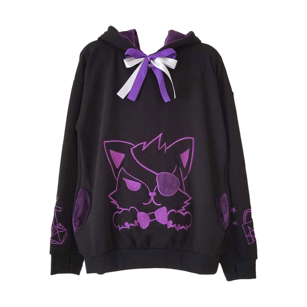 Unlock Your Heart Black and Purple Fox Plush Hoodie