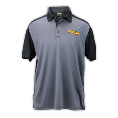 Mecum Mens Two Toned Gray And Black Polo - Front