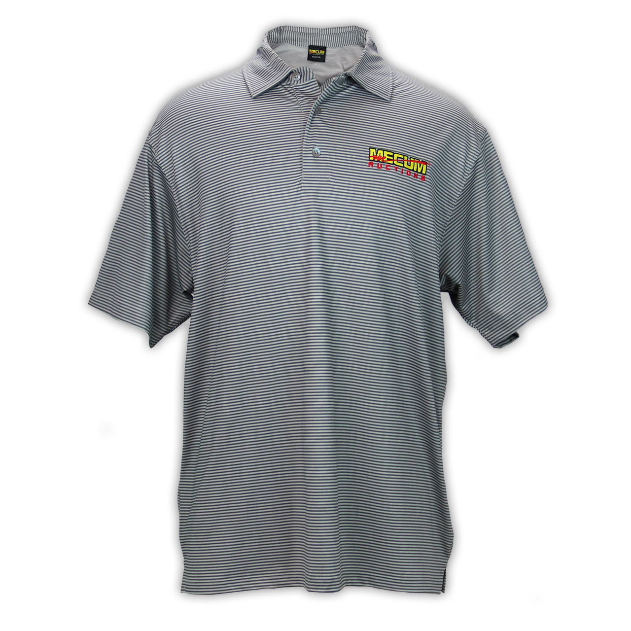 Mecum Mens Micro Striped Gray Polo - Front