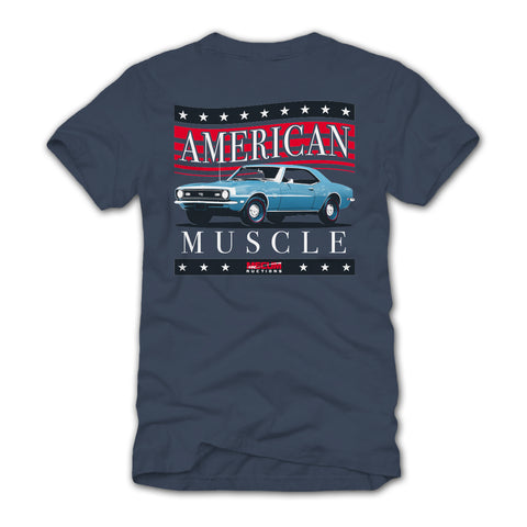Photo of 2020 Mecum Men's Blue American Muscle T-Shirt back
