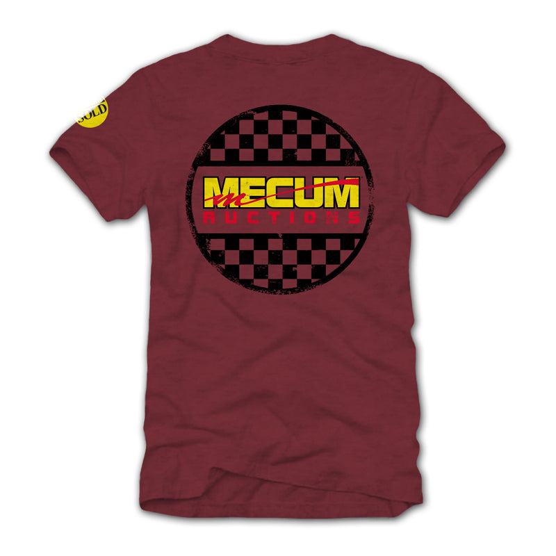 Photo of 2020 Mecum Men's Maroon Race Check T-Shirt back