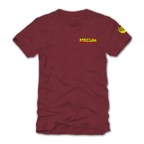 Photo of 2020 Mecum Men's Maroon Race Check T-Shirt front