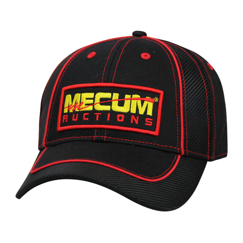 2020 Mecum Men's Black and Red Carbon Hat Front