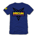 2021 Mecum Mens Blue Race Check T-Shirt - Back