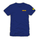 2021 Mecum Mens Blue Race Check T-Shirt - Front