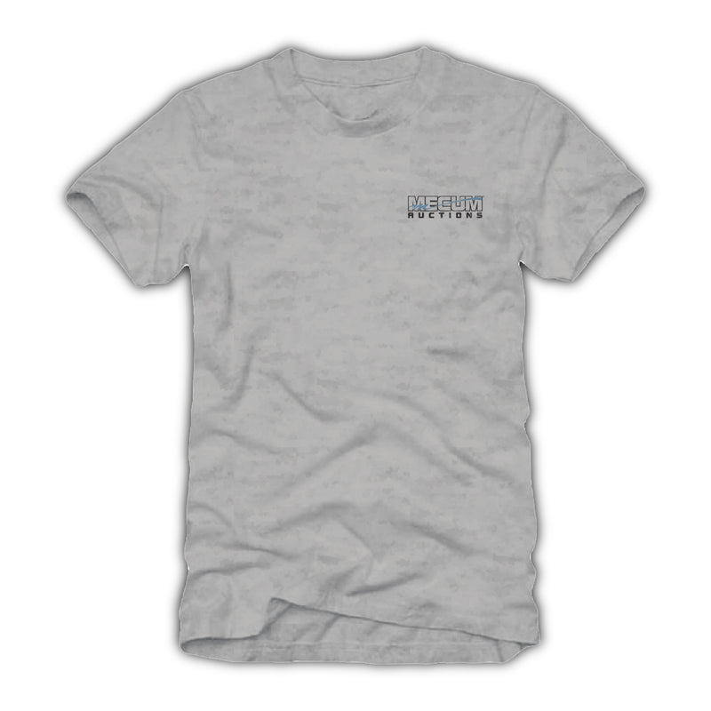 2021 Mecum Mens Gray Event Exclusive Kissimme Name Drop T-Shirt - Front