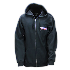 Mecum Mens Zip Check Navy Long Sleeve Full Zip Hoodie  - Front