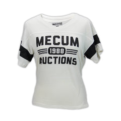 Mecum Womens Champion Cream and Black Short Sleeve T-Shirt - Front