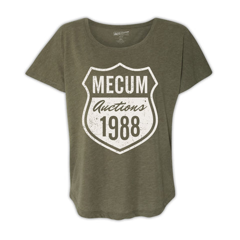 Mecum Womens Route 88 Olive Green Dolman Shirt - Front