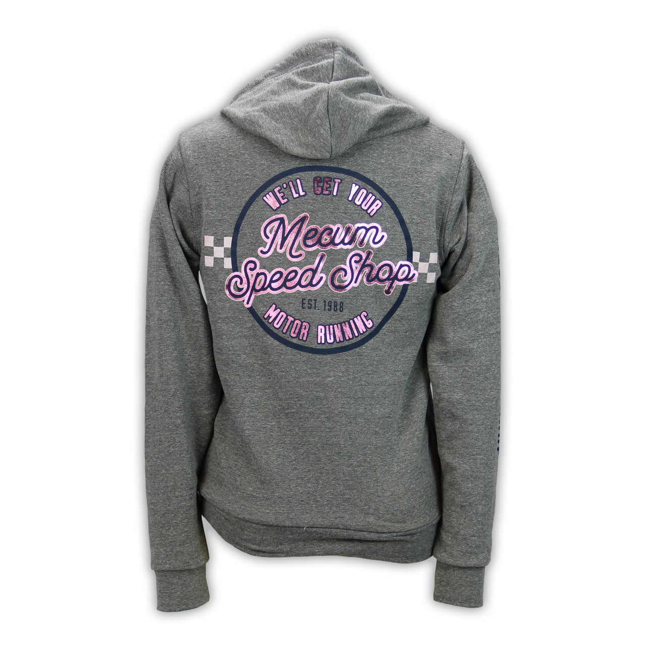 Mecum Womens Speed Shop Gray Full Zip Hoodie - Back
