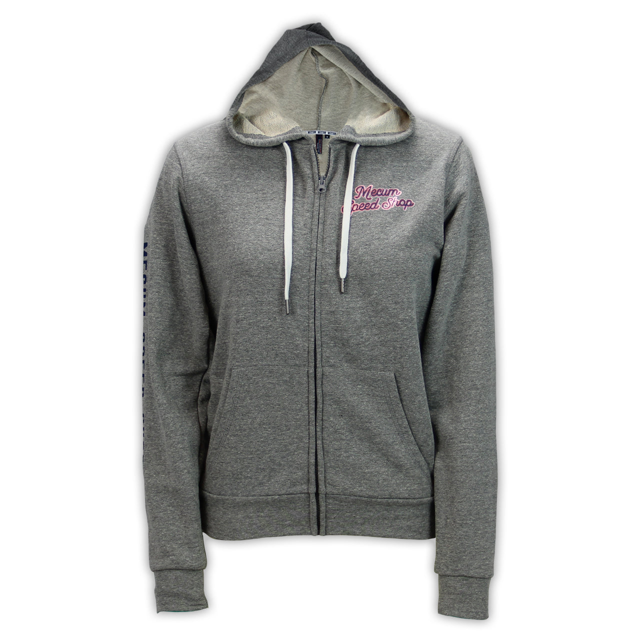 Mecum Womens Speed Shop Gray Full Zip Hoodie - Front