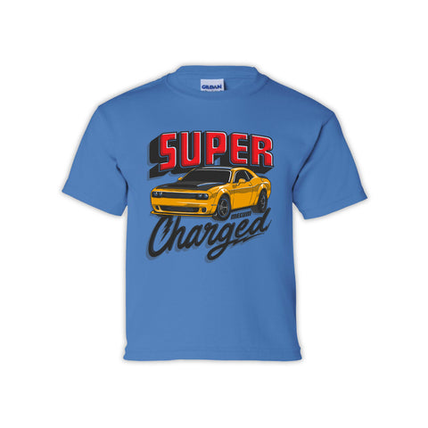 Mecum Youth Super Charged Blue Short Sleeve T-Shirt - Front