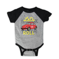 Mecum Unisex Lets Roll Onesie Gray - Front
