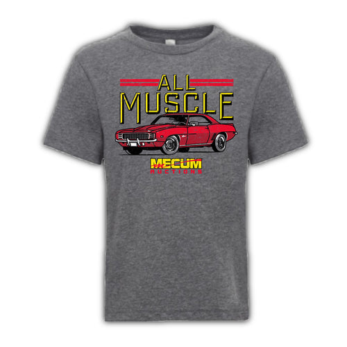 2021 Mecum Youth Gray All Muscle T-Shirt - Front
