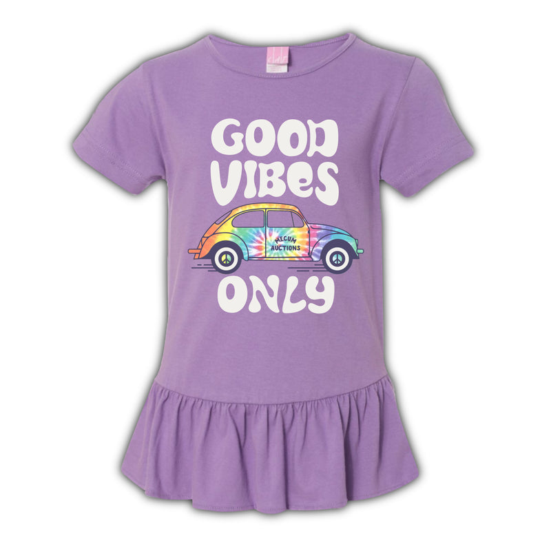 2021 Mecum Youth Purple Good Vibes Dress T-Shirt - Front