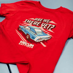 Mecum Toddler Are We There Yet Red Short Sleeve T-Shirt - Front - Lifestyle
