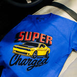 Mecum Youth Super Charged Blue Short Sleeve T-Shirt - Front - Lifestyle