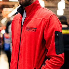 Mecum Mens Red Fleece Jacket - Front - Lifestyle