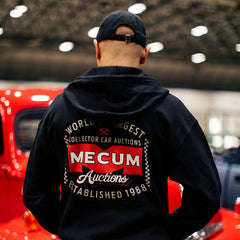 Mecum Mens Zip Check Navy Long Sleeve Full Zip Hoodie  - Back - Lifestyle