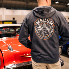 Man wearing 2020 Mecum Men's Heather Grey Full Zip Hooded Sweatshirt