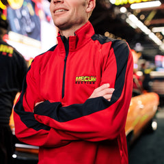 Man wearing 2020 Mecum Men's Logo Quarter Zip Pullover