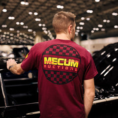 Man wearing 2020 Mecum Men's Maroon Race Check T-Shirt