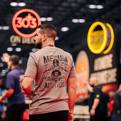 Man wearing 2020 Mecum Men's Biker T-Shirt