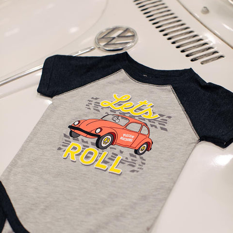 Mecum Unisex Lets Roll Onesie Gray - Front - Lifestyle