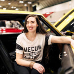 Mecum Womens Champion Cream and Black Short Sleeve T-Shirt - Front- Lifestyle