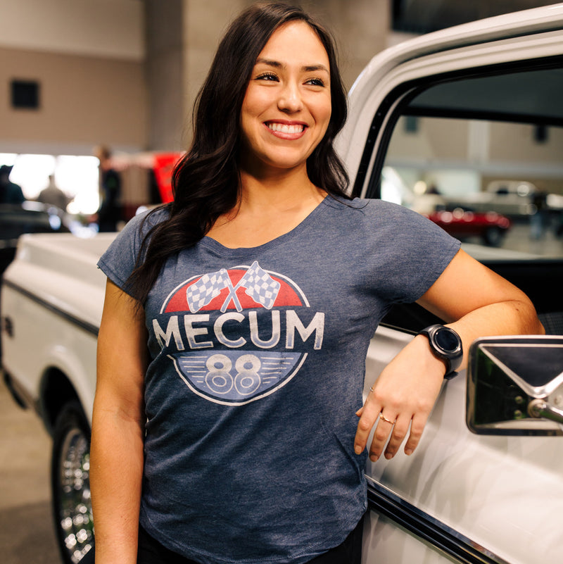 Woman wearing 2020 Mecum Woman's Eliminator T-Shirt