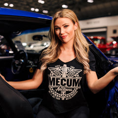 Woman wearing 2020 Mecum Woman's Motor Riding T-Shirt