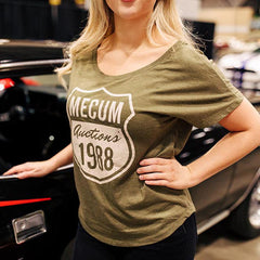 Mecum Womens Route 88 Olive Green Dolman Shirt - Front - Lifestyle