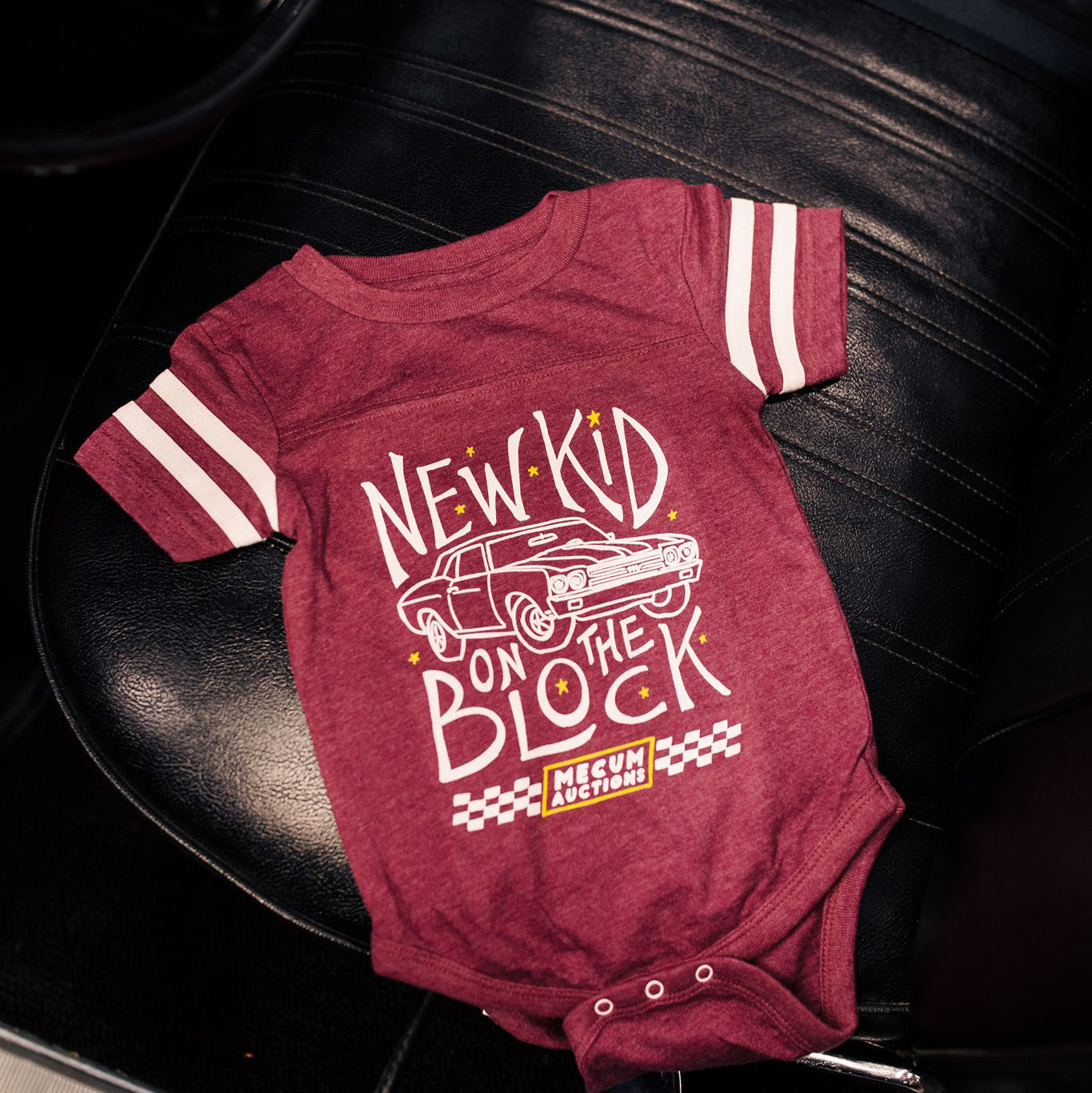 mecum auctions 2020 new kid on the block onesie on car seat