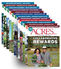 Stack of Acres USA magazine front covers