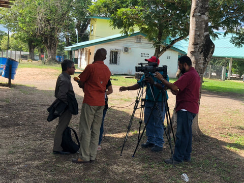 Reginaldo Haslett-Marroquin gives a TV interview