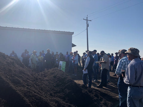 Healthy Soil Summit tour group discusses compost at Blossom Vineyards