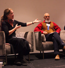 Nicolette Hahn Niman gestures to Fred Provenza during the featured panel