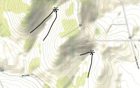 Figure 6.1 shows an example of a topographical map with the keypoint marked with an asterisk and the Keyline overlaid in bold.