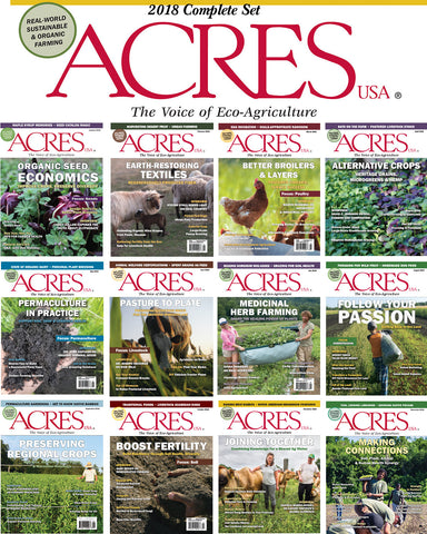 Mosaic of front covers of 2018 Acres USA magazine editions