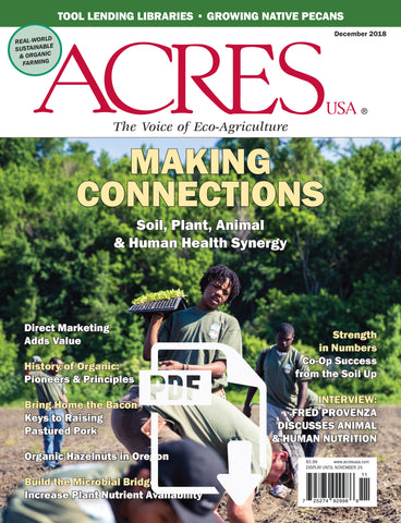 Acres USA magazine December 2018 Front Cover