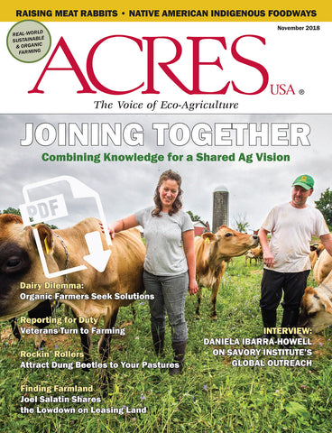 Acres USA magazine November 2018 issue front cover