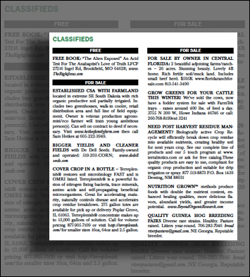 Example of classifieds page in Acres USA magazine
