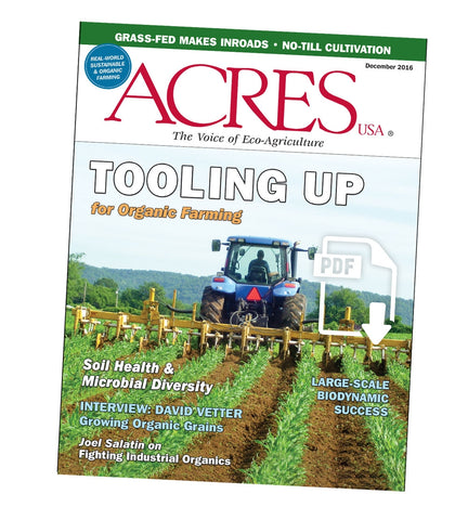Acres U.S.A. Magazine December 2016 Front Cover