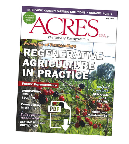 Acres USA Magazine May 2016 Front Cover