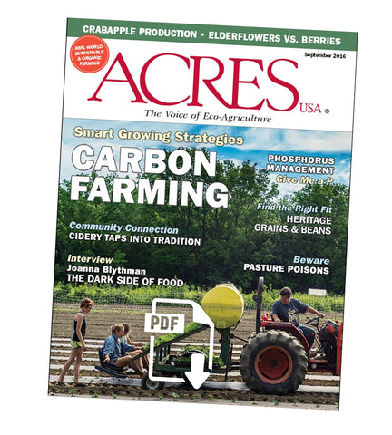 Acres U.S.A. Magazine September 2016 Front Cover