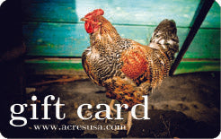 Acres USA gift card with a photo of a chicken