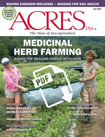 Acres U.S.A. magazine July 2018 front cover
