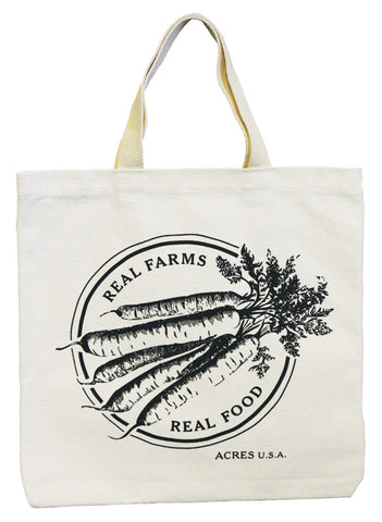 Acres U.S.A. Tote bag which reads Real Farms, Real Food
